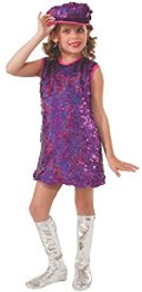 Mod Girl 60's costume purple sequin dress & hat, silver boot tops