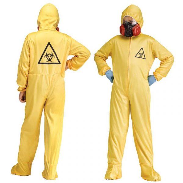 Yellow Hazmat Coverall w Respirator Child Costume