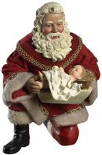 Fabriche O Holy Night Nativity Santa Kneeling w Baby Jesus