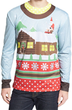 Santa on Break Ugly Sweater T-Shirt w/Santa squatting on Chimney