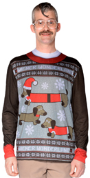 Weiner Wonderland Ugly Sweater T-Shirt w/Dachshunds