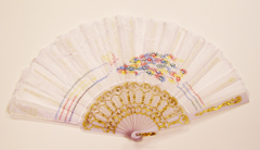 White Folding Fan with Peacock Design