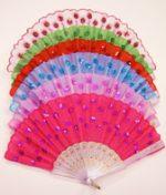 Folding Fan with Sequin Flowers - Asst. Colors