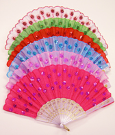 Folding Fan with Sequin Flowers - Asst. Colors