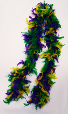 6 Foot Feather Boa - Purple, Green & Gold