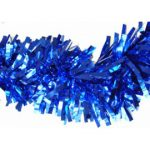 "Blue Metallic Garland, 4"" x 15'"
