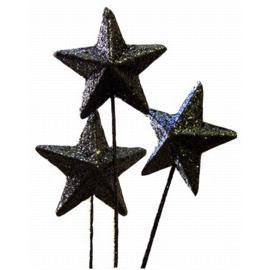Glitter Star On Stick - Black, 70 mm