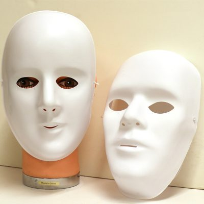 Costume Promo White Plastic Full Face Mask Male Female