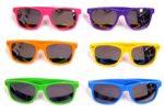 Neon Frame/Mirror Lens Wayfarer Sunglasses