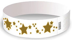 Stars Wristbands - white with Gold Stars