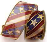 Double Wired Diagonal Stars and Stripes Ribbon