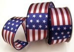 Red/White/Blue Stripes with Stars Double Wired Ribbon