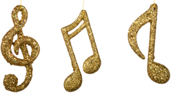Musical Note Ornaments: Gold Glittered 12 inches tall