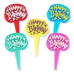 Plastic Happy Birthday Sign Picks - Assorted Colors