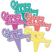Plastic Flat Happy Birthday Picks - Assorted Colors