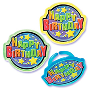 Party Plastic Happy Birthday Rings - Assorted Colors