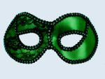 Green/ Black Trim Metallic Half Mask