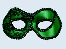 Green/ Black Trim Metallic Half Mask