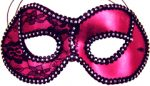 Hot Pink/Black trim Metallic Half Mask