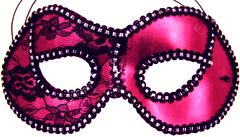 Hot Pink/Black trim Metallic Half Mask