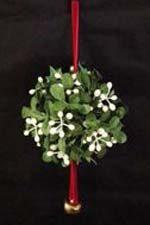 Mistletoe Ball w/ Bell Ornament (Silk)