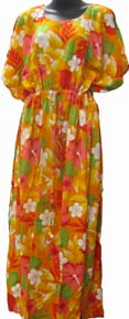 Hawaiian Moo-Moo Dress Orange Bright Flowers