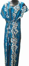 Moo-Moo Dress Blue White Luau Hula Hawaiian