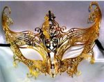 Gold lacy metal mask Mardi Gras Masquerade Party
