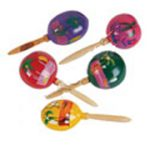 Painted Wooden Mexican Maracas