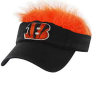 Bengals Fan Visor w Orange Furry Hair Playoff Super Bowl