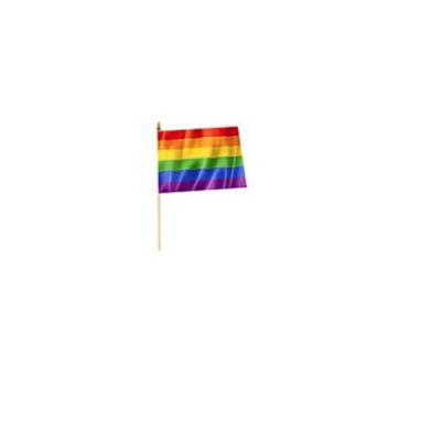 Rainbow Flag on white plastic dowel