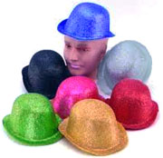 Glittered Plastic Derby Hats