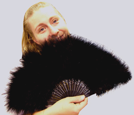 Maribou Feather Fan, Avail In Black, Red, White, fuschia