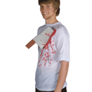 Saw or cleaver weapon in bloody shirt