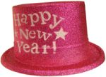Happy New Year Glittered Plastic Top Hat