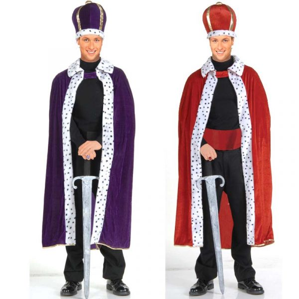 Red or Purple King's Crown and Robe Set