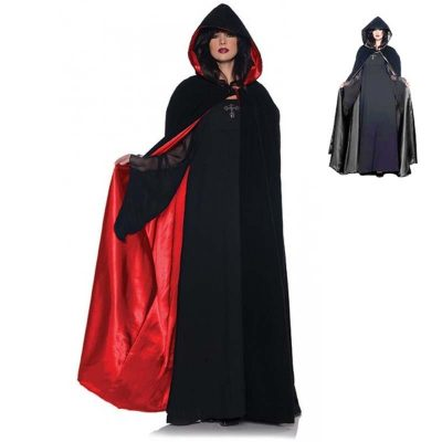 "63"" black velvet hooded capes"