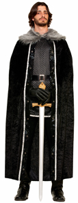 Long black robe Long Cape Black w/ faux fur trim