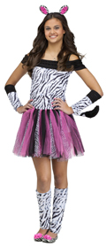 Zebra Girl Tutu Dress leg warmers headband w/ ears