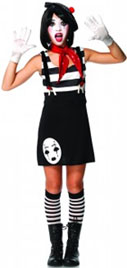 Miss Mime Teen Costume Mime Dress, hat, scarf, gloves