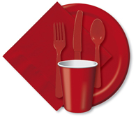 Classic Red Cups, Plates, Napkins, Tableware