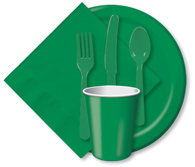 Emerald Green Cups, Plates, Napkins, Tableware