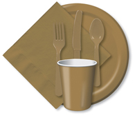Glittering Gold Cups, Plates, Napkins, Tableware