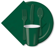 Hunter Green Cups, Plates, Napkins, Tableware