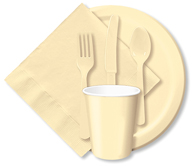 Ivory Cups, Plates, Napkins, Tableware