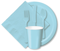 Pastel Blue Cups, Plates, Napkins, Tableware