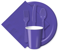 Purple Cups, Plates, Napkins, Tableware