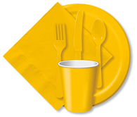 School Bus Yellow Cups, Plates, Napkins, Tableware