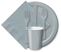 Shimmering Silver Cups, Plates, Napkins, Tableware
