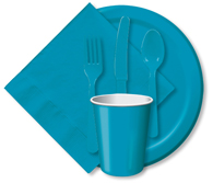 Turquoise Cups, Plates, Napkins, Tableware